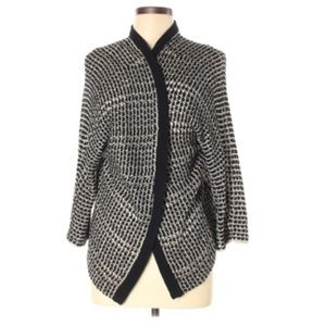 Lucky Brand Open Front Cardigan Blck Houndstooth L